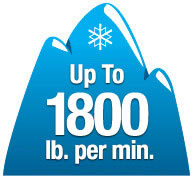 High capacity snow removal - up to 1800 lb./min, throws snow up to 33 feet
